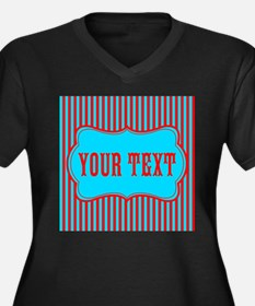 Personalizable Red and Teal Striped Plus Size T-Sh