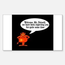 Welcome to Hell Jerry Falwell Sticker (Rectangular