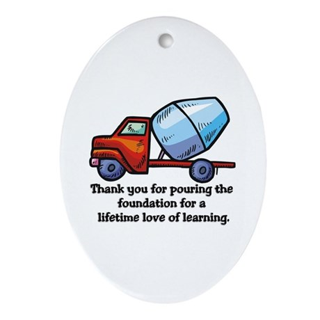 Thank you teacher gifts Oval Ornament