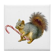 Squirrel Candy Cane Tile Coaster