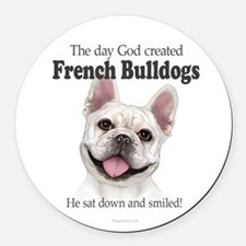 God smiled: Cream Frenchie Round Car Magnet