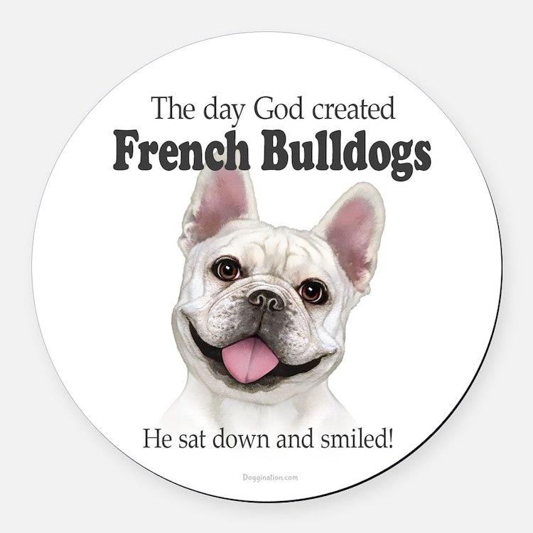 God smiled: Cream Frenchie Round Car Magnet