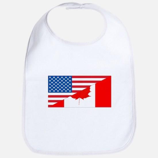 USA Canada Flag Baby Bib