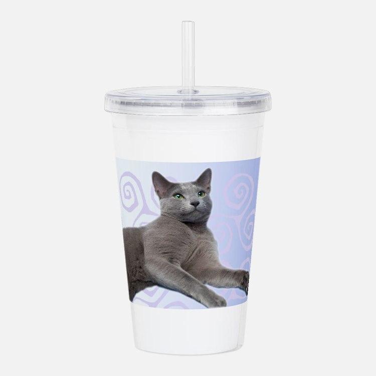 Russian Blue Cat Acrylic Double-wall Tumbler