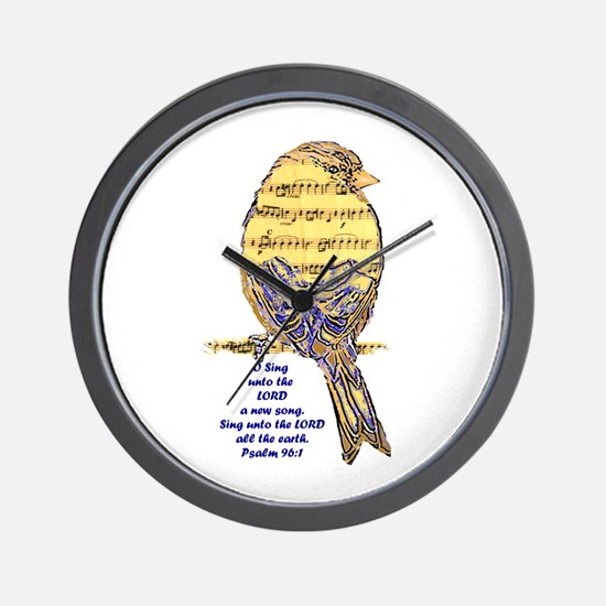 Psalm 96:1 Sing Unto The Lord Song Bird Wall Clock