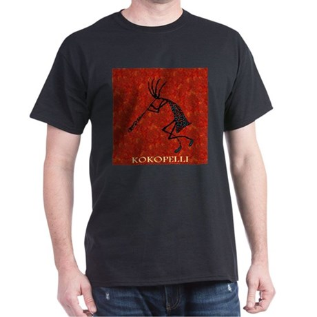 Kokopelli Red Coral and Turqu Dark T-Shirt