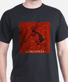 Kokopelli Red Coral and Turqu T-Shirt