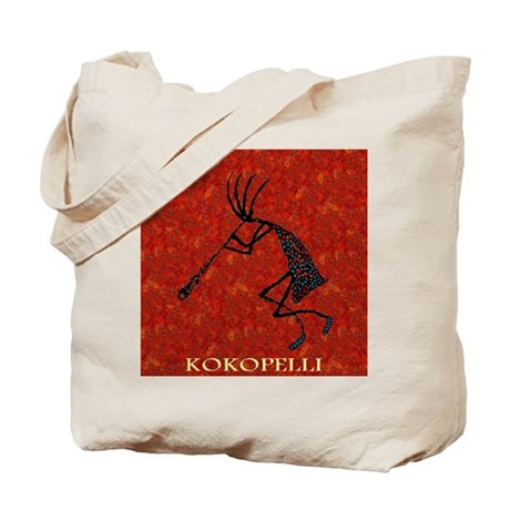Kokopelli Red Coral and Turqu Tote Bag