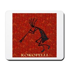 Kokopelli Red Coral and Turqu Mousepad