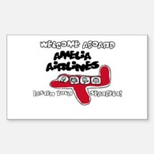 Amelia Airlines Rectangle Decal