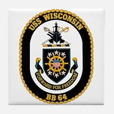USS Wisconsin BB-64 Tile Coaster