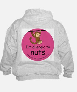 I'm allergic to nuts-pink Hoodie-back design