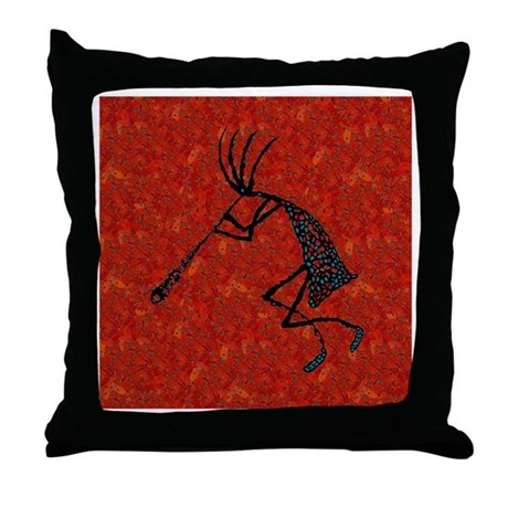 Red Coral and Turquoise Kokop Throw Pillow
