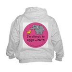 Allergic to eggs & nuts Kids Hoodie-back design