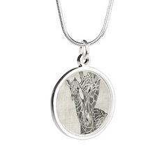 Giraffes Silver Round Necklace
