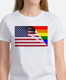 Flag Of U.S.A. Gay Pride Rainbow T-Shirt