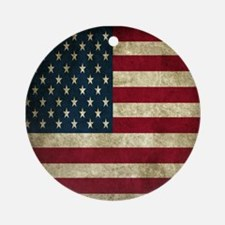 USA Flag - Grunge Ornament (Round)