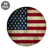 "USA Flag - Grunge 3.5"" Button (10 pack)"