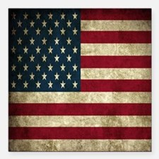 "USA Flag - Grunge Square Car Magnet 3"" x 3"""