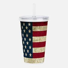 USA Flag - Grunge Acrylic Double-wall Tumbler