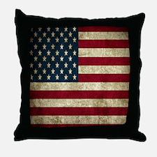 USA Flag - Grunge Throw Pillow
