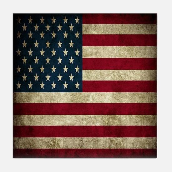 USA Flag - Grunge Tile Coaster