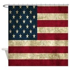 USA Flag - Grunge Shower Curtain