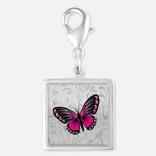 Whimsical Pink Butterfly on gray floral Charms