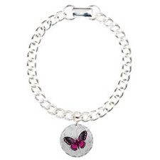 Whimsical Pink Butterfly on gray floral Bracelet
