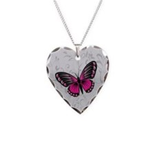 Whimsical Pink Butterfly on gray floral Necklace