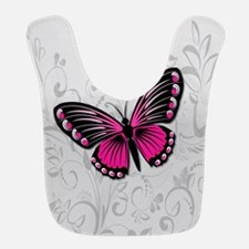 Whimsical Pink Butterfly on gray floral Bib