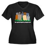 Playground Women's Plus Size V-Neck Dark T-Shirt