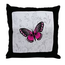 Whimsical Pink Butterfly on gray floral Throw Pill