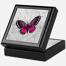 Whimsical Pink Butterfly on gray floral Keepsake B