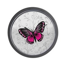 Whimsical Pink Butterfly on gray floral Wall Clock