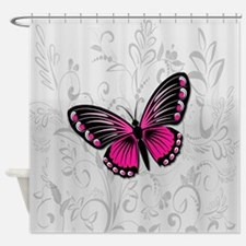 Whimsical Pink Butterfly on gray floral Shower Cur