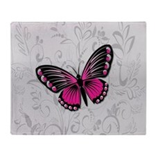 Whimsical Pink Butterfly on gray floral Throw Blan