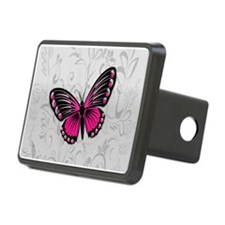 Whimsical Pink Butterfly on gray floral Hitch Cove