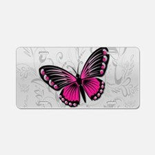 Whimsical Pink Butterfly on gray floral Aluminum L