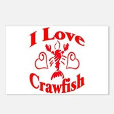 I Love Crawfish Postcards (Package of 8)