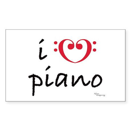 i love piano Rectangle Sticker