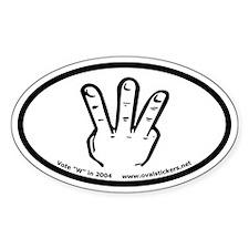 "George W. Bush Sign Language ""W"" Oval Decal"