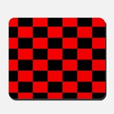 Bright red and black checkerboard Mousepad