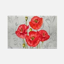 Four pretty red poppies Magnets
