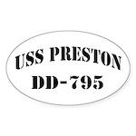 USS PRESTON Sticker (Oval)