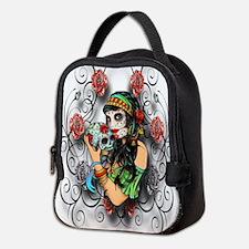Candy Rose Skull Neoprene Lunch Bag