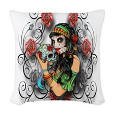 Candy Rose Skull Woven Throw Pillow