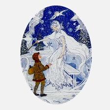 Snow Queen Enhanced Colors Oval Ornament