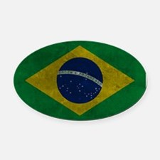 Grunge Braziilan Flag Oval Car Magnet