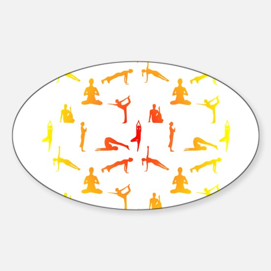 Yoga Positions In Gradient Colors Decal